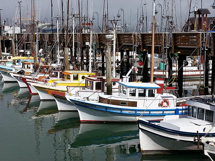 Fishing trawlers in Fisherman's Wharf San Francisco