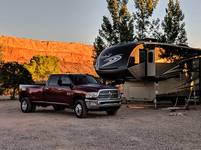 5th wheel trailer at Cottonwood RV Park in Bluff, Utah