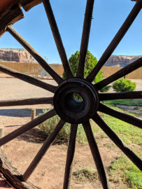 Wagon wheel at the Cottonwood RV Park in Bluff, Utah