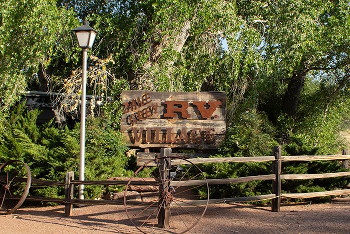 Zane Grey RV Village sign