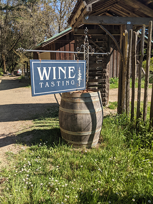 Wine Tasting Barrel Sign at Briceland Winery